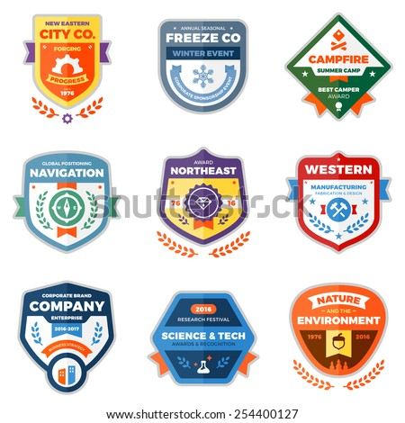 Set of clean modern logo badges and award graphics