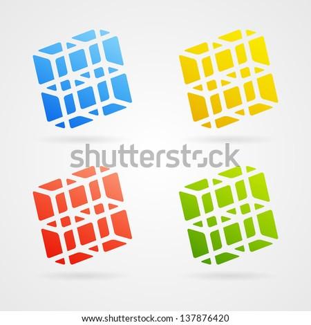 Set of clean vector color 3d elements - stock vector
