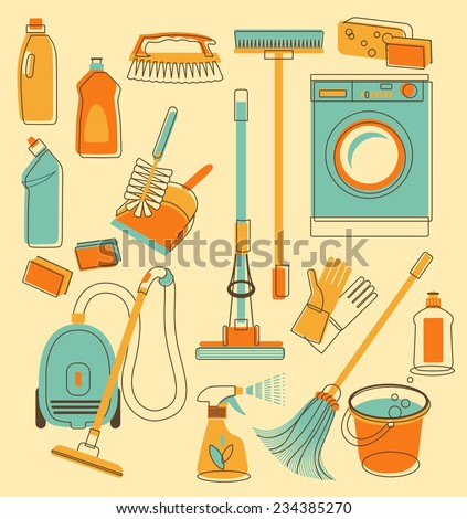 Set of cleaning objects in vintage style - stock vector