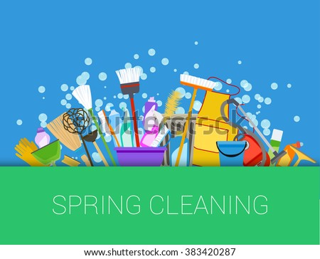 Set of cleaning supplies. Vector