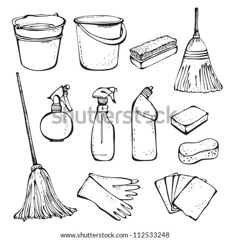 Set of cleanings tools isolated on a white background - stock vector