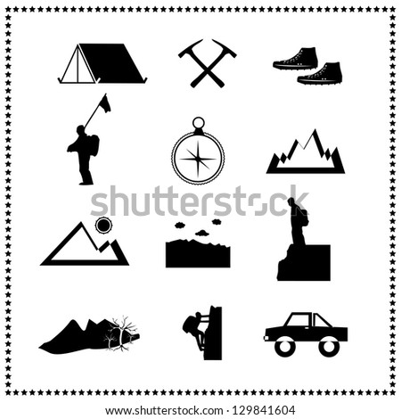 Set of climbing mountain and travel, Vector illustration - stock vector