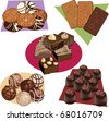 set of clip-arts with chocolate goods - stock vector