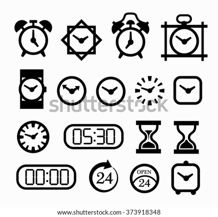Set of clock icons. Collection of black pictograms of clocks and watches for a mobile application, banners, ads, clock shop. Vector clock icons - stock vector