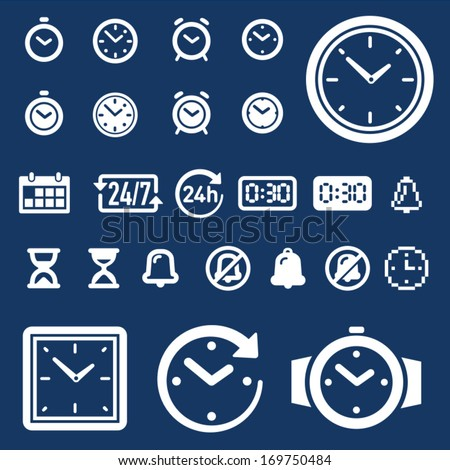 Set of 25 clock, time and alarm icons  - stock vector
