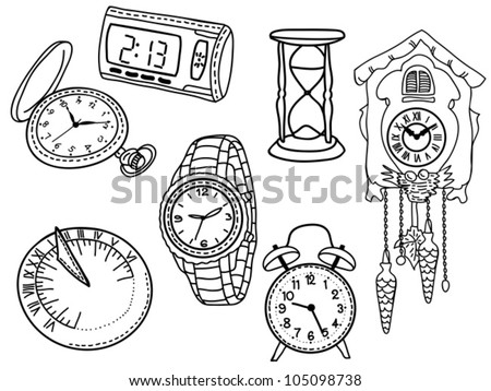 Set of clocks and watches isolated on white background - hand-drawn illustration - stock vector