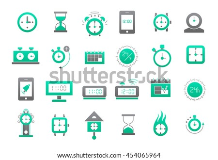 Set of 24 Clocks green-gray vector icons  - stock vector