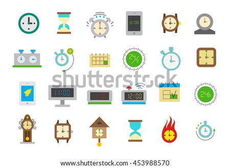 Set of 24 clocks isolated vector icons  - stock vector