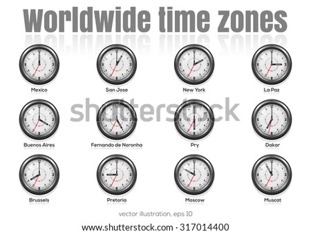 Set of clocks showing international time. World time  zones. Vector illustration - stock vector