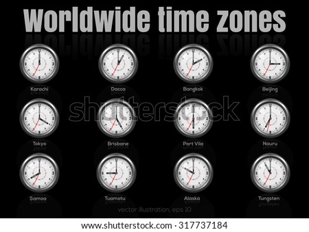 Set of clocks showing international time. World time zones. Vector illustration 2. - stock vector