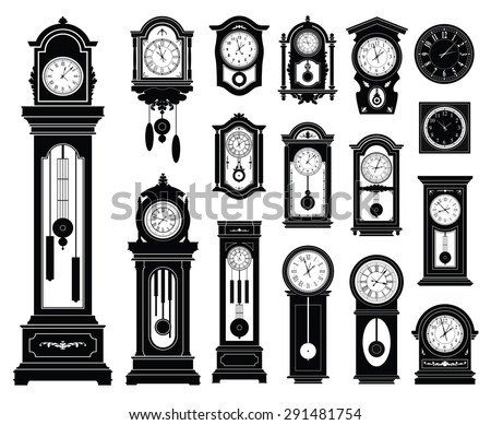 Set of clocks. Vector illustration. - stock vector