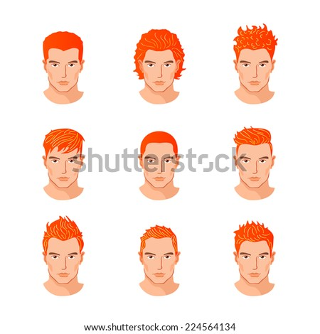 Set of close up different hair style young men portraits isolated vector illustrations - stock vector