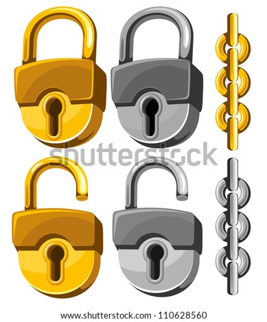 Set of closed and opened padlocks with chain. - stock vector