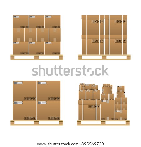 Set of closed brown carton delivery boxes in various sizes with fragile signs and barcode on wooden pallet. vector illustration in flat design isolated on white background - stock vector