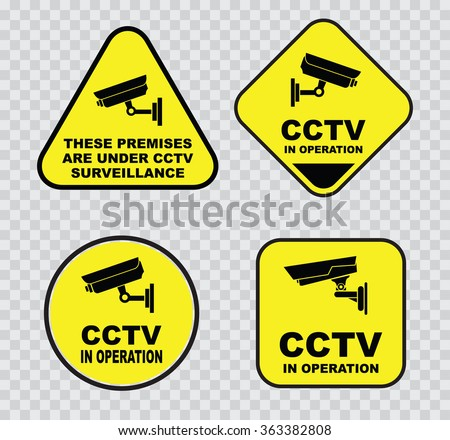 set of Closed Circuit Television (CCTV) Signs.