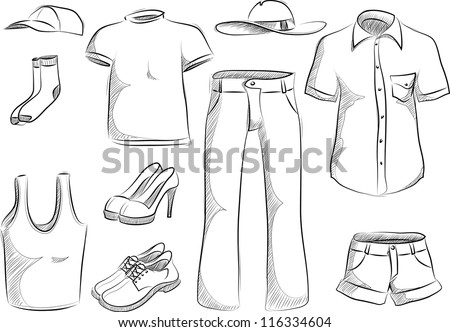 set of clothes - stock vector