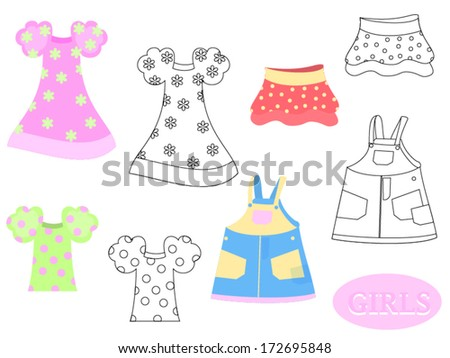 Set of clothes for girls/ Clothes - stock vector