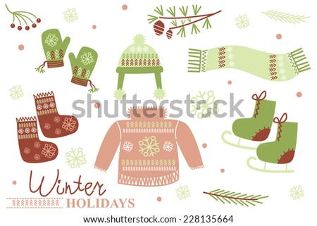 set of clothes for the winter holidays - stock vector