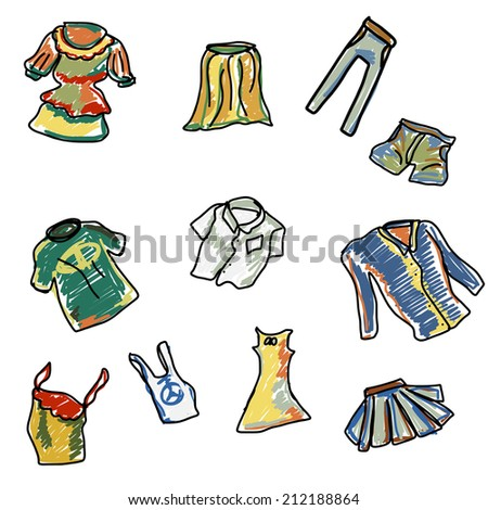 Set of Clothes Hand Drawn - stock vector