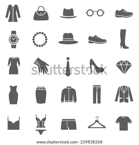 Set of Clothes Icons. Clothing Store. Vector - stock vector