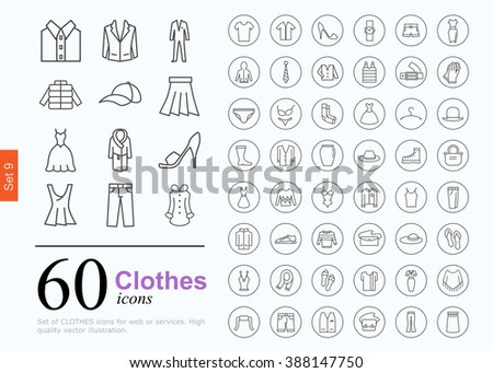Set of clothes icons for web or services. 60 design line icons high quality, vector illustration. - stock vector