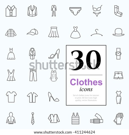Set of clothes icons for web or services. 30 design line icons high quality, vector illustration. - stock vector