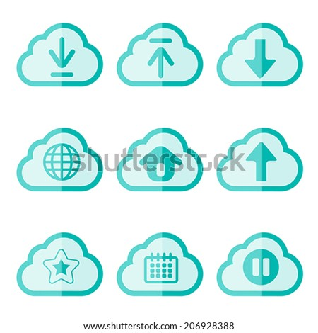set of cloud flat icon, vector