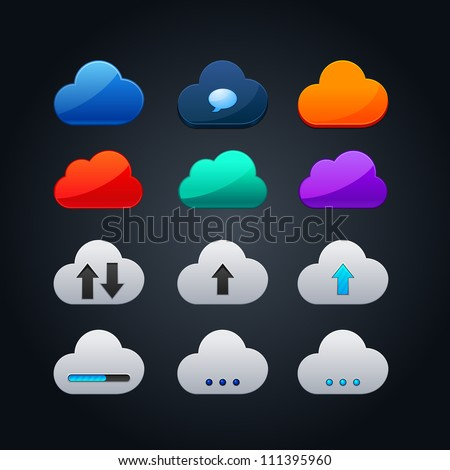 set of cloud icon computing concept design - stock vector