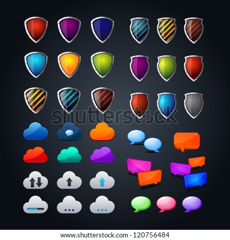 set of cloud icon computing concept design, colorful shields, colorful web bubble chat icon. question-answer illustration - stock vector