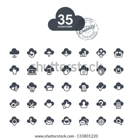 Set of cloud icons - stock vector
