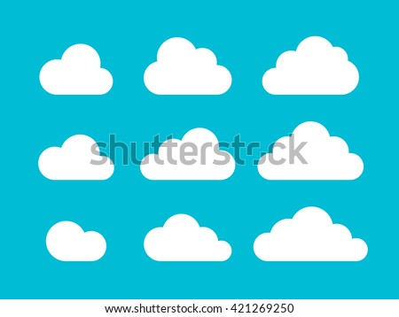 Set of Cloud Icons in trendy flat style isolated on blue background. Cloud symbol for your web site design, logo, app, UI. Vector illustration, EPS10. - stock vector