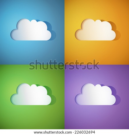 Set of cloud paper icons on colored background. - stock vector