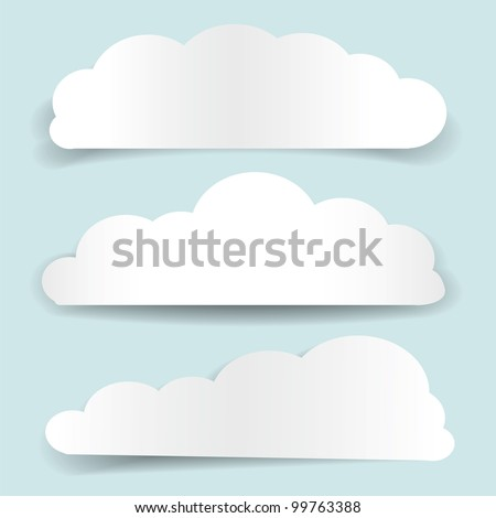 Set of cloud-shaped paper banners. Vector illustration - stock vector