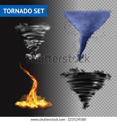 Set of 4 cloud water fire and lightning tornados on transparent background 3d isolated vector illustration - stock vector
