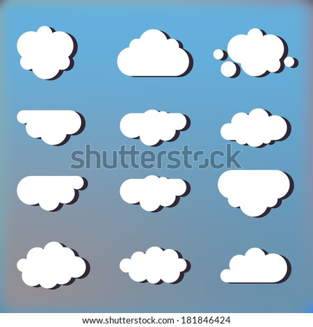 set of clouds in the sky icons, illustration - stock vector