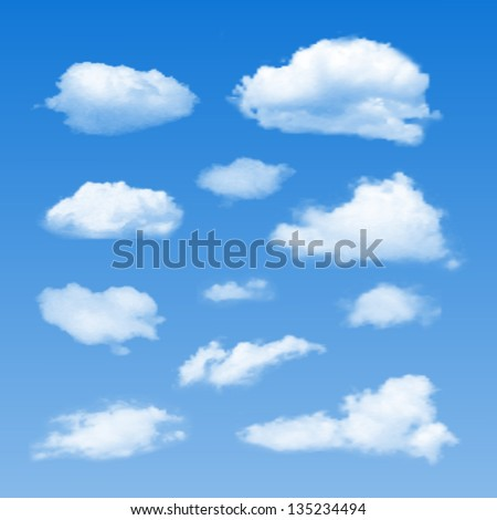 Set of Clouds on  blue sky. Vector illustration - stock vector