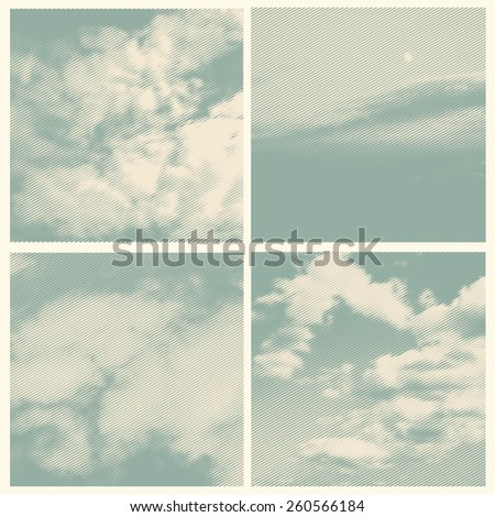 set of clouds, retro engraving style. vector illustration - stock vector