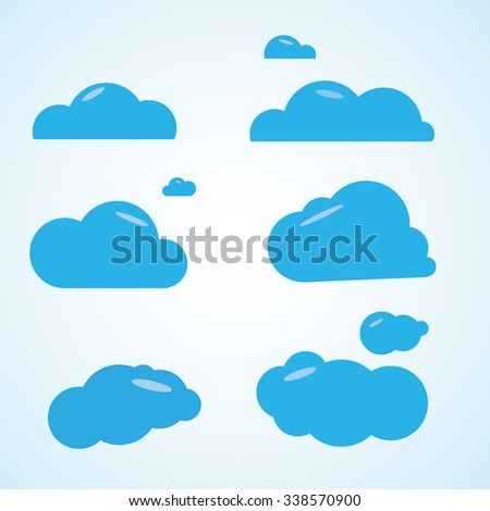 set of clouds. vector graphics plane