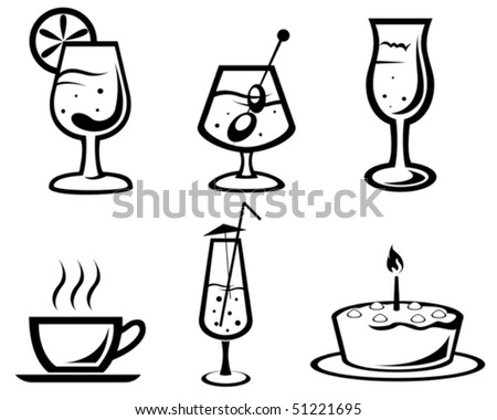 Set of cocktail and food symbols for design or logo template. Jpeg version also available - stock vector