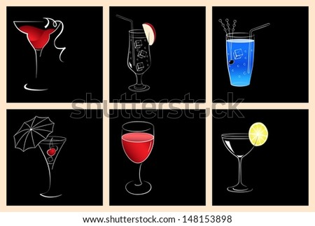 Set of cocktail glasses and wine glasses on black background - stock vector