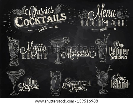 Set of cocktail menu in vintage style stylized drawing with chalk on blackboard, Cocktails with illustrated, the blue lagoon margarita Scotch - stock vector