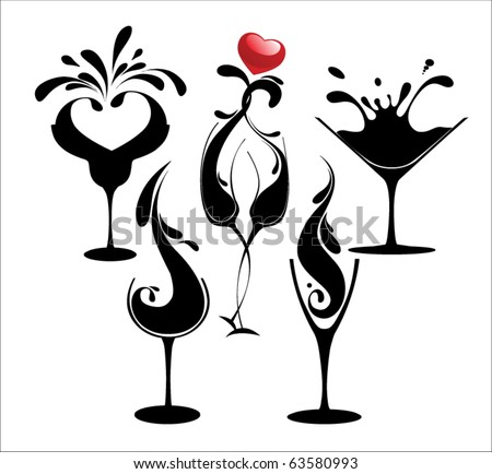 set of cocktail silhouette glasses - stock vector