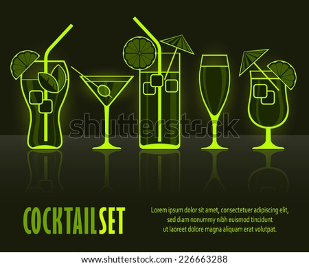 Set of cocktail silhouettes on black & text, vector illustration - stock vector