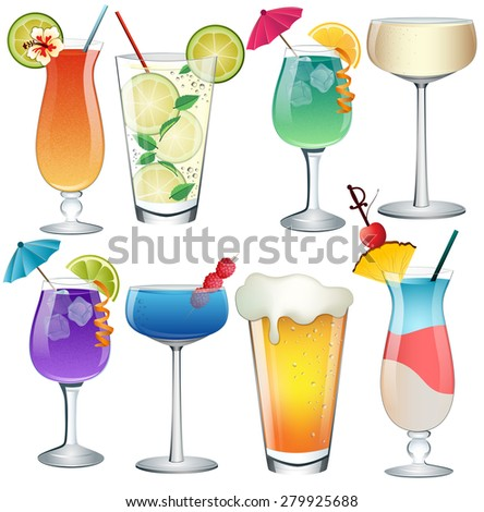 Set of Cocktails Vector - stock vector