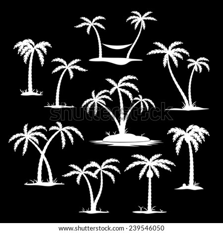 Set of coconut trees white silhouette icons on the black background. Vector illustration - stock vector