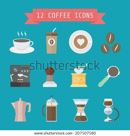 set of coffee and barista's equipment, flat style - stock vector