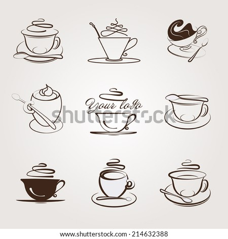 Set of coffee and tea cups - stock vector