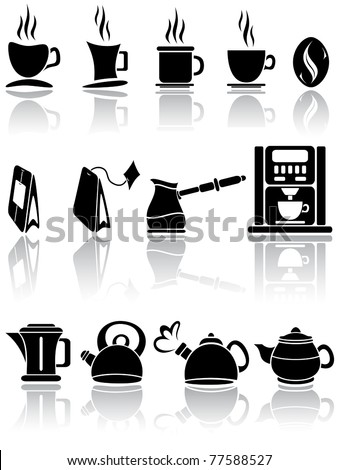 Set of coffee and tea icons, illustration - stock vector