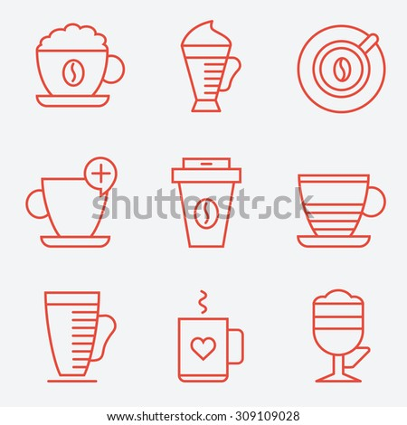 Set of coffee cups, flat design, thin line style - stock vector