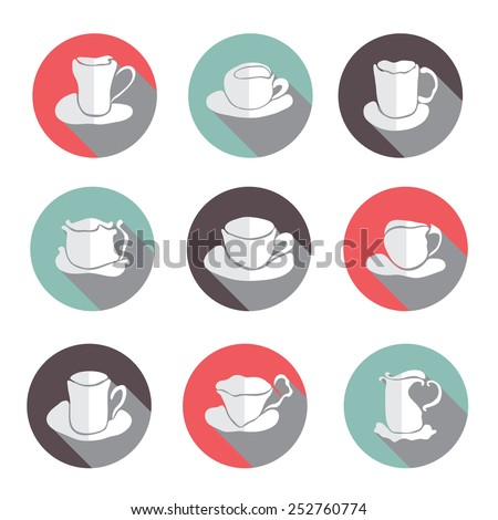 set of 9 coffee cups flat icons, design elements - stock vector